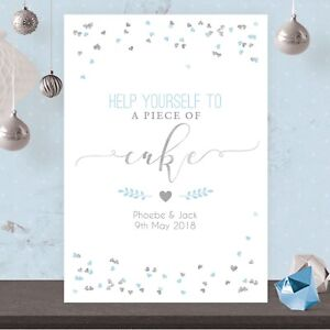 Personalised Wedding Cake Table Sign Poster Light Blue Silver