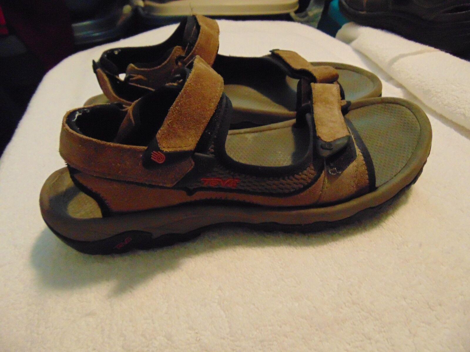 Men's Teva Light Brown Suede Leather Adjustable Strappy Sandals-10-S N