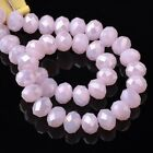 100pcs 6x4mm Rondelle Faceted Crystal Glass Loose Beads Jade Pink AB