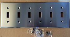 NEW 6-Gang Toggle Brushed Stainless Steel Wall Plate Industrial Switch Cover