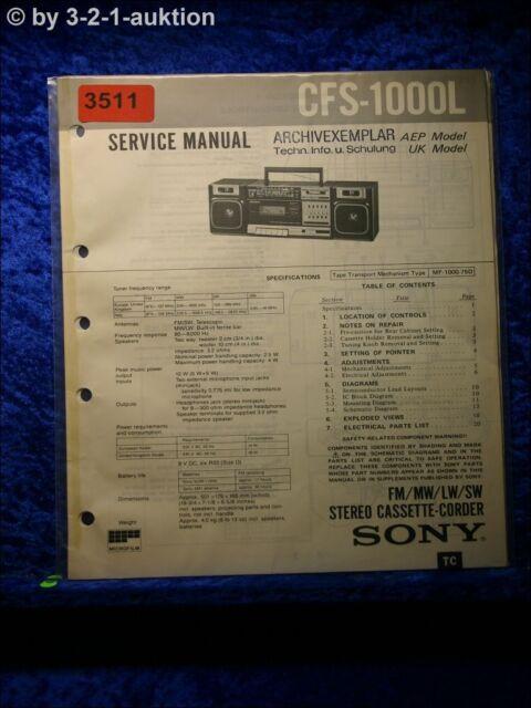 Sony Service Manual Cfs 33814oz Cassette Corder  3511