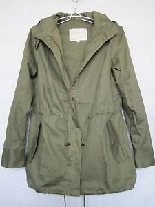 Women Solid Hooded ArmyGreen Cotton Blend Military Jacket Trench