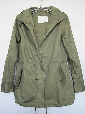 Women Solid Hooded ArmyGreen Cotton Blend Military Jacket Trench Parka Coat S-XL