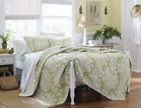 Laura Ashley Rowland Quilt Set, Full/queen, Sage , New, Free Shipping