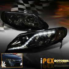 (DARK SMOKE + LED DRL Light) 2006-2011 Honda Civic 4Dr Sedan Projector Headlight