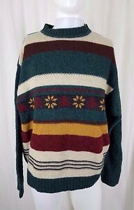 M Tricot Colors Rayures Pull Hommes Benetton Of Isle Fair United Vintage À P5XqFF