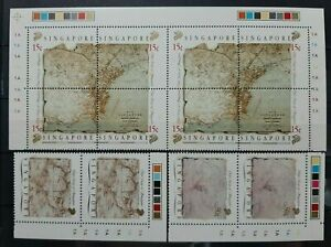 RARE-COLORED-CORNER-PLATE-BLOCK-OF-2-SINGAPORE-1989-MAPS-SG-596-601-MNH-OG