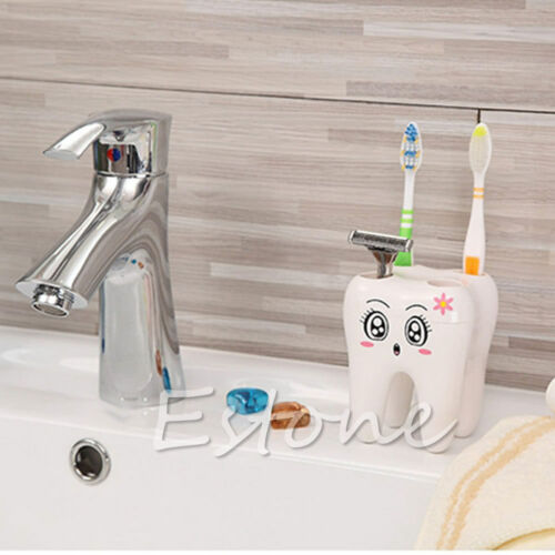 Novelty 4 Hole Tooth Style Toothbrush Holder Lovely Cute Cartoon Design Bathroom