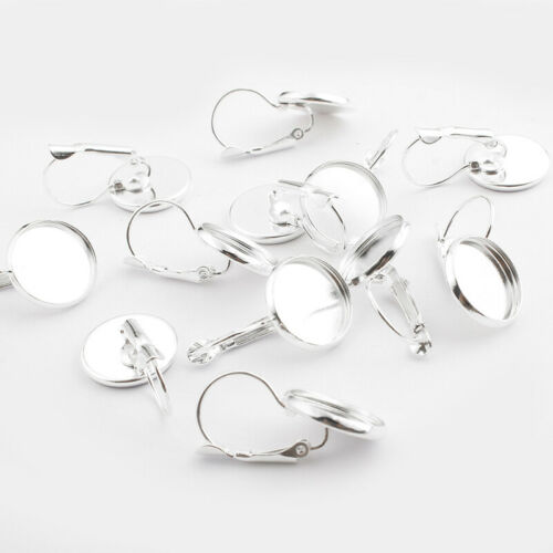 20 Silver Plated Lever Back Earring Base 14mm Round Bezel Setting Cabochon Trays