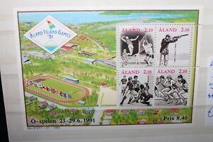 FRANCOBOLLI-ALAND-1991-034-SPORT-CALCIO-ATLETICA-PALLAVOLO-034-MNH-BLOCK-CAT-8