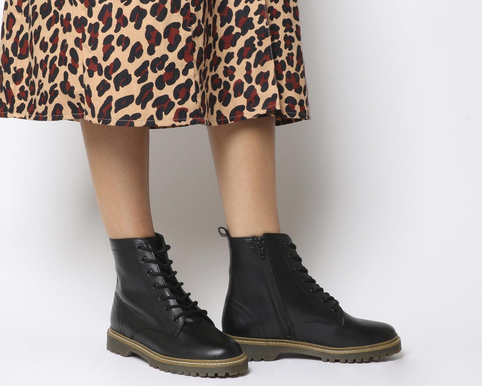 Oficina para mujer botas con Cordones Suela Acanalado Acanalado Acanalado Aston botas De Cuero Negro  encuentra tu favorito aquí