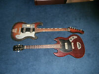 Lot of Two Vintage 1960's Teisco/Unknown Japan Electric Guitar Projects! SG!