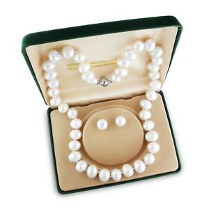 Amour Silvertone White Cultured Freshwater Pearl Jewelry Set (8-10 mm)