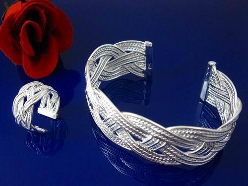 Fashion Silver Jewelry Big Mesh Men Women Bangle Bracelet Ring Set FS284