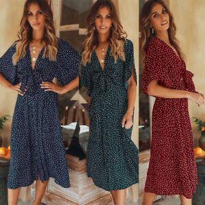2019-Popular-Bow-Knottoed-Dot-Bohemian-Printed-Short-Sleeves-Summer-Party-Skirt