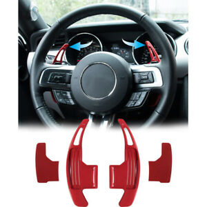 Red Aluminum Steering Paddle Shifter Extension for Ford Mustang 2015 2016 2017