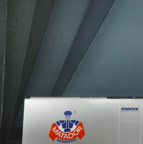 """MATADOR ABRASIVE WET DRY SANDPAPER 50 SHEETS P280 GRIT 9/""""x11/"""" SILCON CARBIDE"""