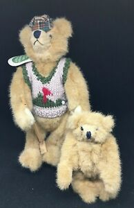 Mary-Meyer-Lot-of-2-Green-Mountain-Bears-Plush-Golfer-Bear-11-034-With-6-034-Bear