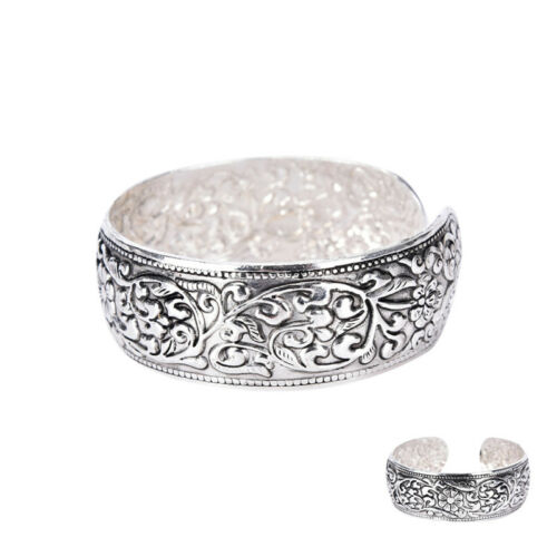 Bracelet Totem en argent tibétain sculpté Bracelet manchette fleur chanceux HQ