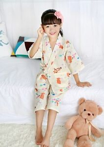 Nuovo-Per-Bambine-Orientale-Giapponese-Cinese-Margherita-Kimono-Pigiami-gpjs1