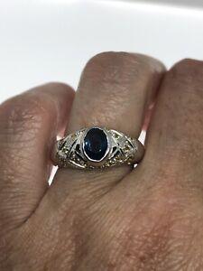 Vintage-saphir-bleu-Ring-925-Sterling-Silver-Citrine-Taille-8