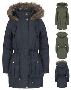 Womens-Brave-Soul-Plain-Trimmed-Parka-Faux-Fur-Hooded-Winter-Jacket-Long-Coat