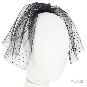 Maison-Michel-Paris-Black-Sheer-Mesh-Dot-Patterned-Comb-Veil-Fascinator