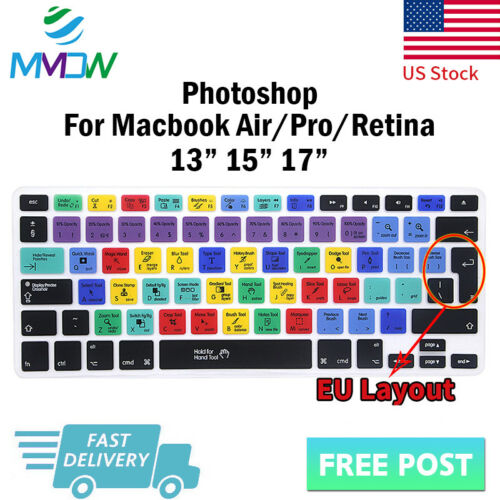 Photoshop PS Silicone Keyboard Cover Skin For Macbook Pro Air Retina 13 15 17