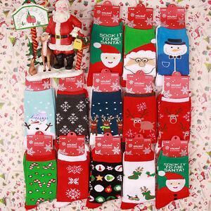 Women-Christmas-XMAS-Snowflake-Deer-Winter-Socks-Comfy-Thermal-Cotton-Socks-NEW