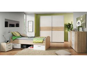 Jugendzimmer Wisal 67 Sonoma Eiche weiß 4-teilig Kinderzimmer Bett Nako Schrank