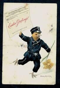 VINTAGE-EASTER-POSTCARD-CHICK-IN-MESSENGER-SUIT-ARTIST-SIGNED-1911