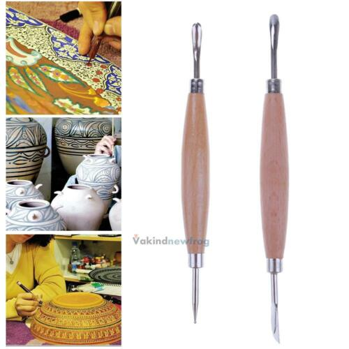 2pcs Wooden Handle Pottery Clay Sculpture Carving Ceramic Hobby Tools Art Craft