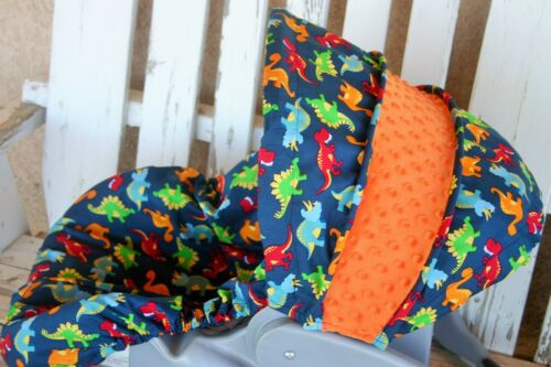 baby infant car seat cover and hood cover bright Dinosaurs with orange minky