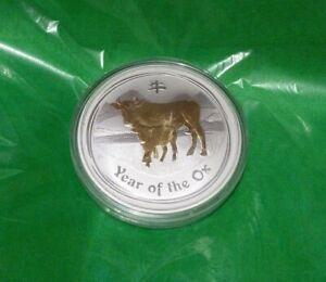 Perth-Mint-Australia-1-Lunar-Series2-Gilded-Ox-2009-1oz-999-Proof-Silver-Coin