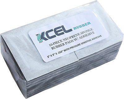"XCEL Neoprene Sponge Rubber Anti-Vibration Pads w// Adhesive 6/""x6/""x1//4/"" 8 pcs"