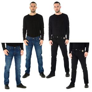 Mens-Jeans-Denim-Elastico-Smart-apretado-Calce-Entallado-Pantalones-Pantalones-Informales-Estrechos