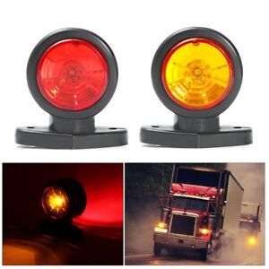 12V-24V-Truck-Trailer-Lorry-LED-Side-Marker-Clearance-Light-Indcator-Red-Amber