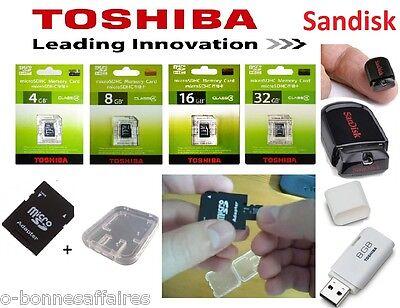 CARTE MEMOIRE MICRO SDHC SDXC 4 8 16 32 64 Go GB TOSHIBA + ADAPTATEUR SD+BOITIER