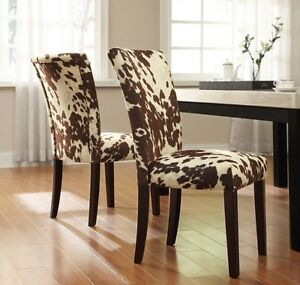 new 2 set cowhide faux upholstered accent dining room side chairs animal brown ebay. Black Bedroom Furniture Sets. Home Design Ideas