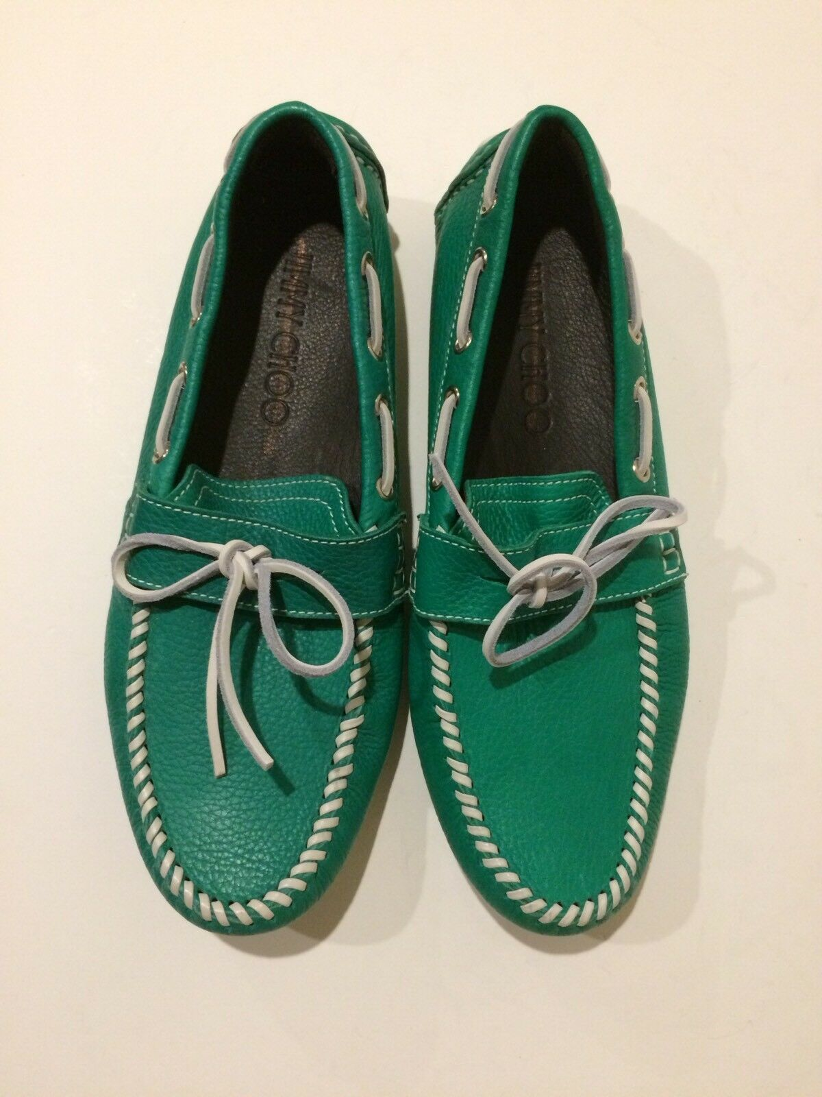 New Jimmy Choo Green Moccasin Leather Loafers (Size: 43EU/10US)