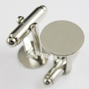 100 PCS blank Metal Cufflinks Findings 9mm Pad Silver