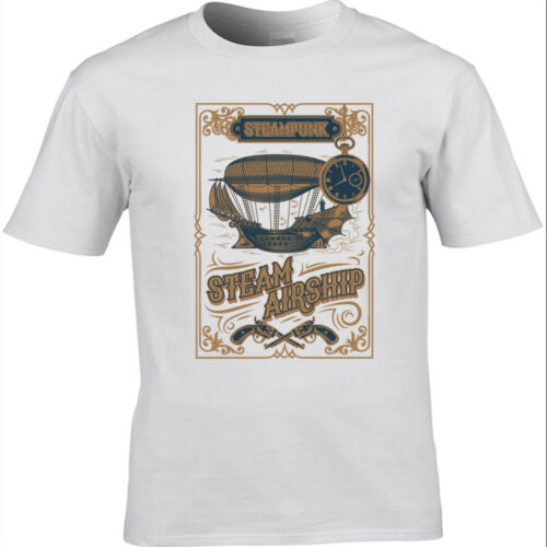 Men/'s Steampunk T-Shirt Gothic Victorian Design Steam Airship design 2