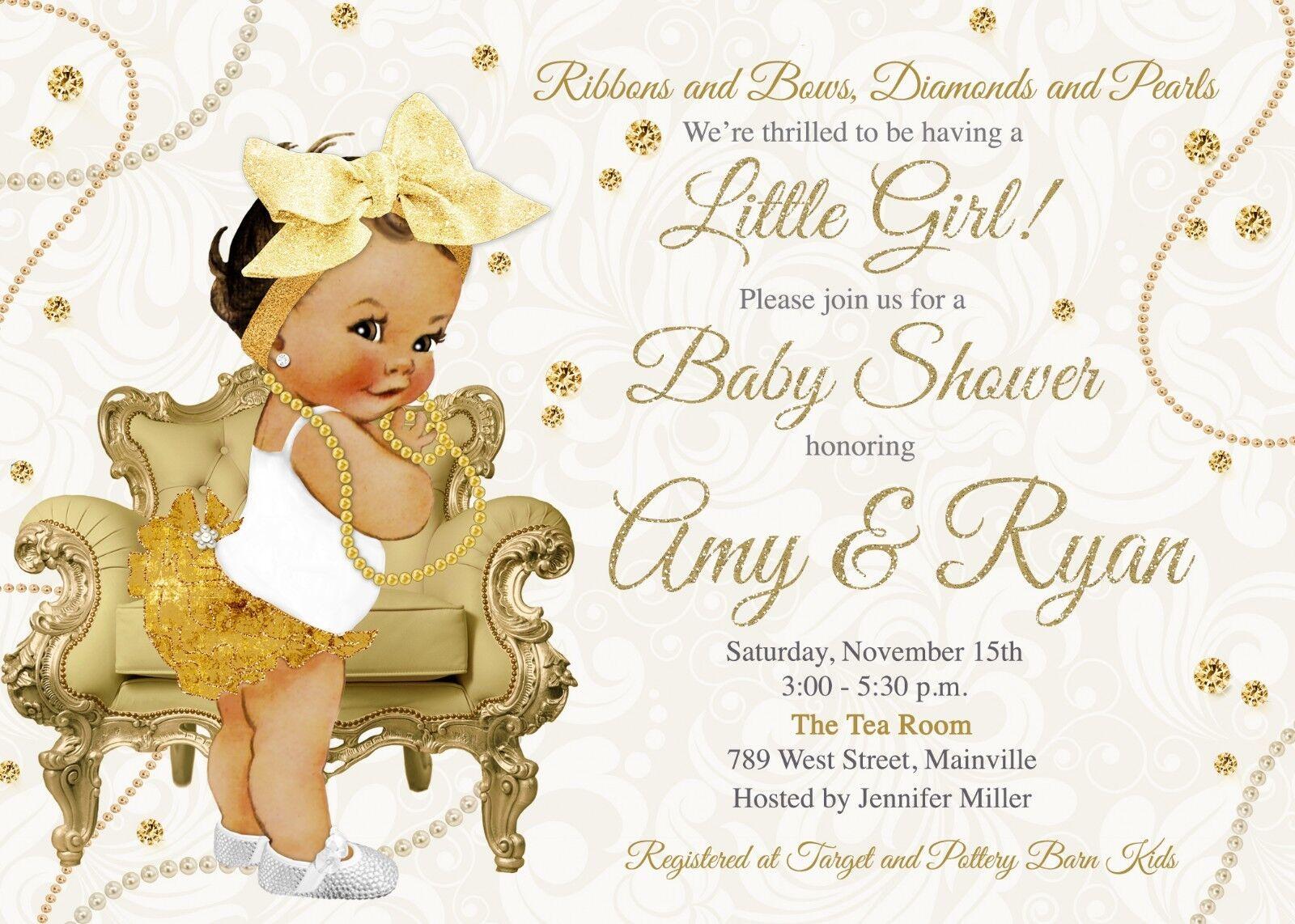 Diamonds Pearls Baby Shower, Girl, Girl, Girl, Baby Girl, Gold, Pearls, Diamonds, Invitation 4cd20d