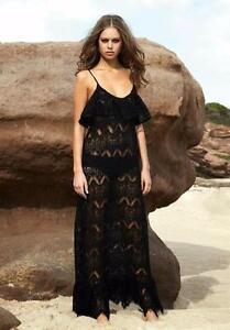 49d6ddd8007 Image is loading Melissa-Odabash-Black-Crochet-Maxi-Dress-Kaftan-Coverup-