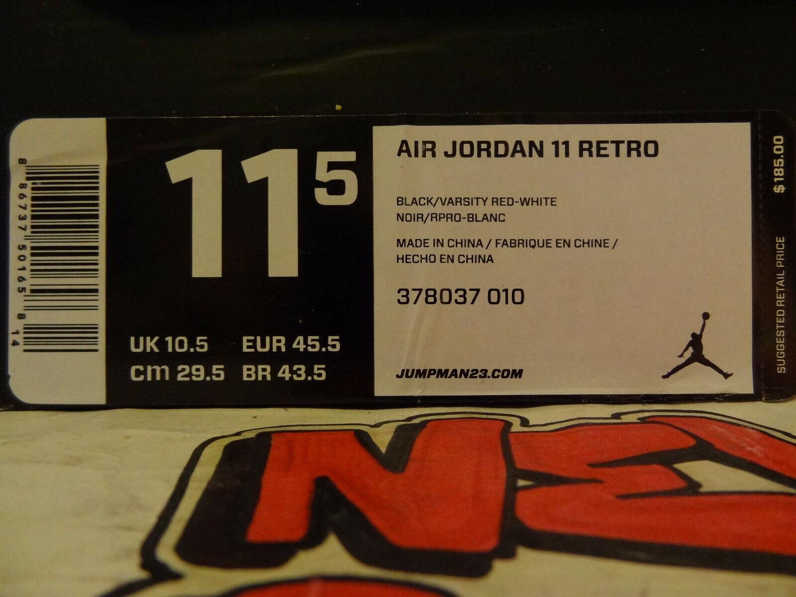 Air Jordan 11 Retro  2012 Brosso  nero Varsity Varsity Varsity rosso-bianca 378037 010 42a3de