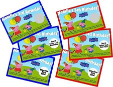 PEPPA PIG PERSONLIZED SCRATCH OFF OFFS PARTY GAME GAMES CARDS BIRTHDAY FAVORS