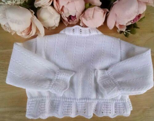 Baby Girl Pink White Occasion Party Cardigan Bolero Crochet Edge Bow 0-3-6-9m