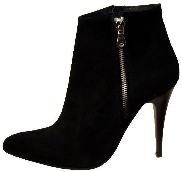 M0103 Damen Stiefeletten hoher Absatz Wildleder schwarz Schuhgröße 37 38 39 40