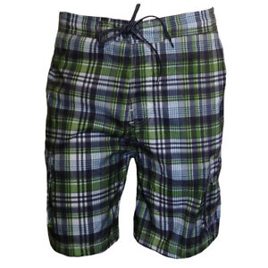 Mens-Shorts-Swimwear-Swim-Trunk-FREE-COUNTRY-Vacation-Relax-Water-Green-amp-Blue