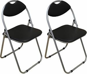 Black Folding Chairs Padded Desk Reception Studying Guest